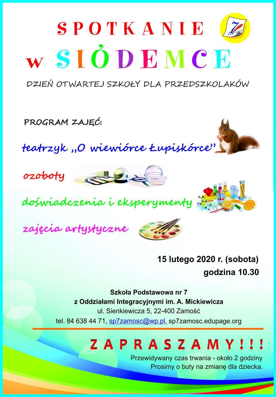 """plakat 2020 Dzień Otwartej Szkoły w """"Siódemce"""