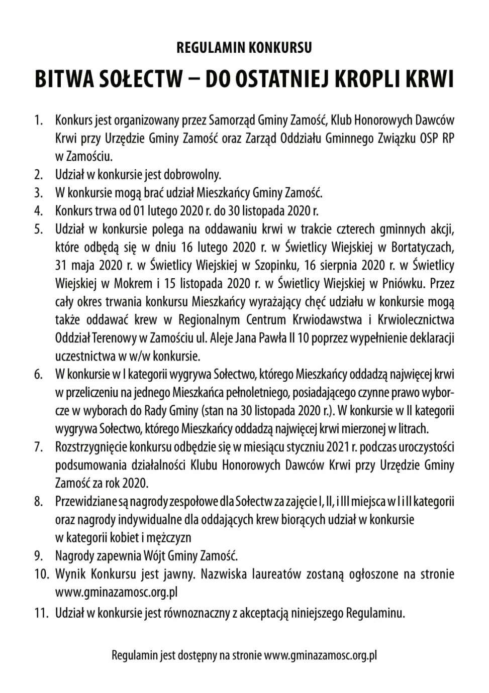 """ulotka 2 Gm. Zamość: Ruszyła III edycja konkursu """"Bitwa sołectw – do ostatniej kropli krwi"""""""