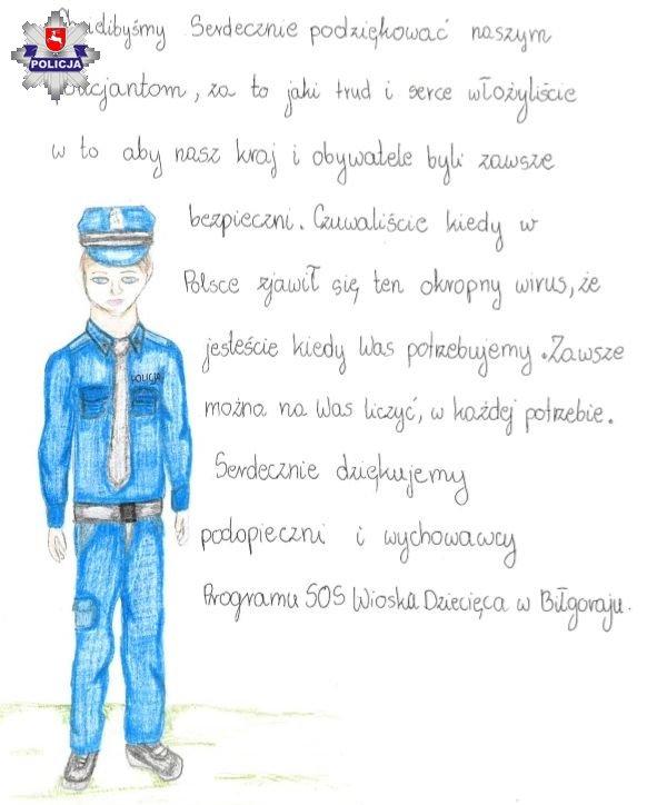 68 165368 Laurka i słowa wsparcia dla policjantów od dzieci z Wioski Dziecięcej