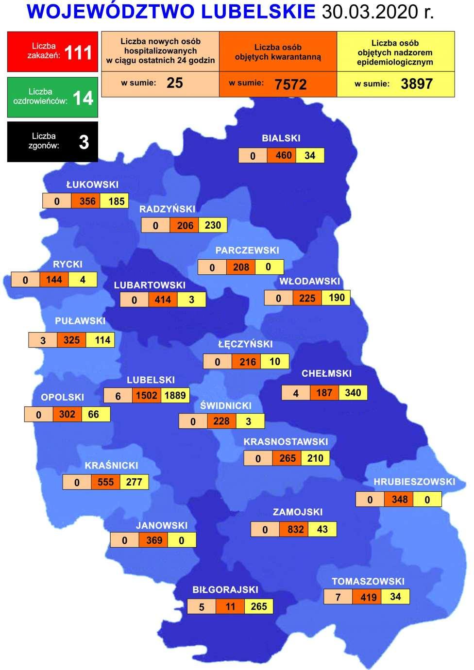 mapa 30 03 2020 comp Koronawirus na Lubelszczyźnie. [AKTUALNE DANE - 30 marca 2020r.]