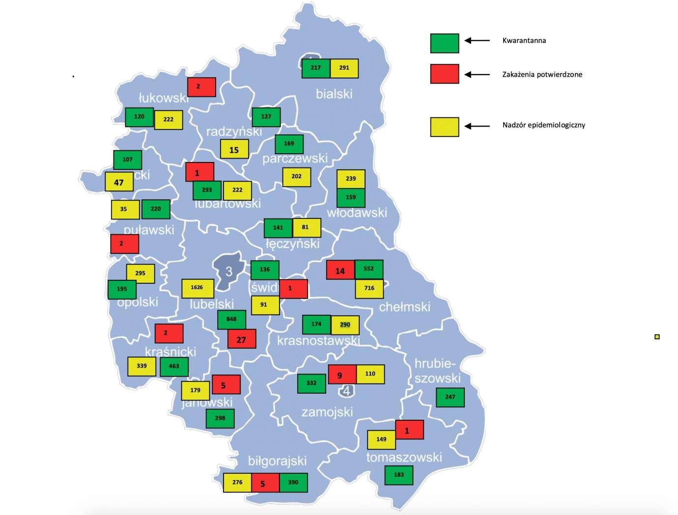 mapa Publikujemy mapę aktualnej sytuacji epidemiologicznej w naszym regionie