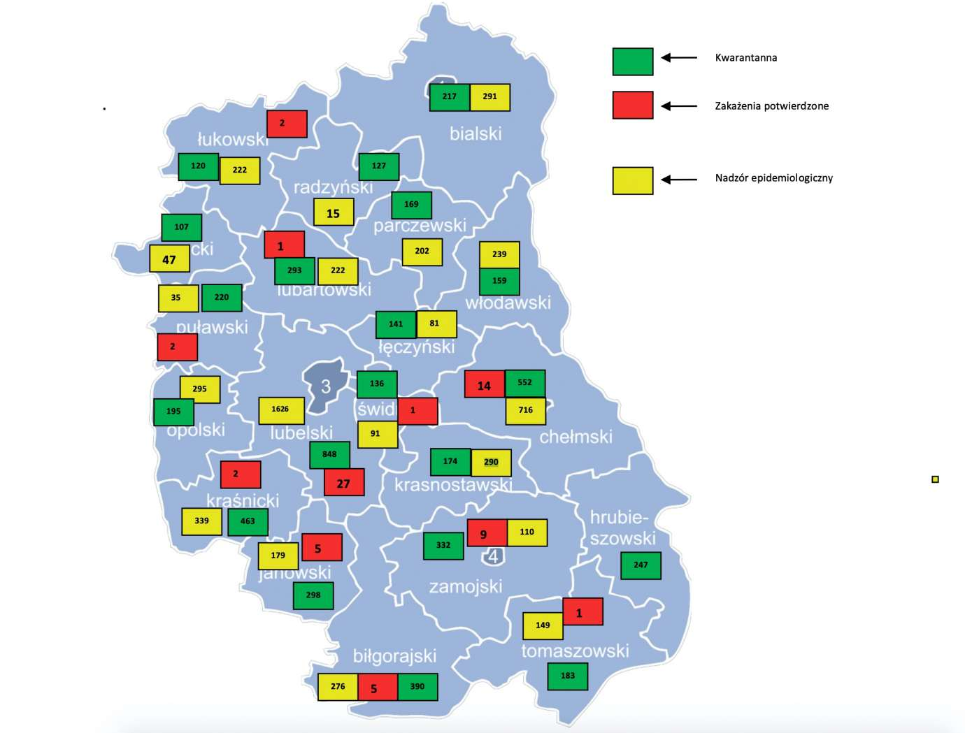 mapa27 MAPA. Na dzień 27 marca,na terenie woj. lubelskiego mamy 77 przypadkówzakażenia koronawirusem.2 osoby zmarłe.
