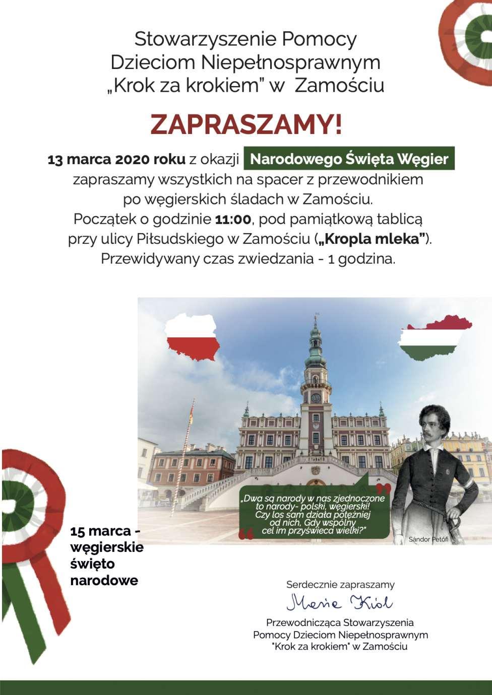 plakat Spacer z przewodnikiem po węgierskich śladach w Zamościu