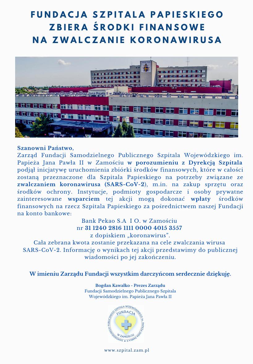 fundacja szpitala zbiorka koronawirus 1 Fundacja szpitala