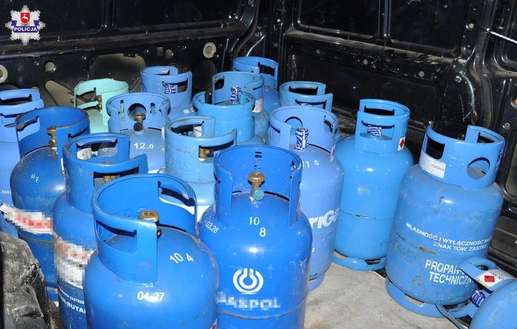 68 168223 Ukradł 140 butli gazowych, pełnych i pustych
