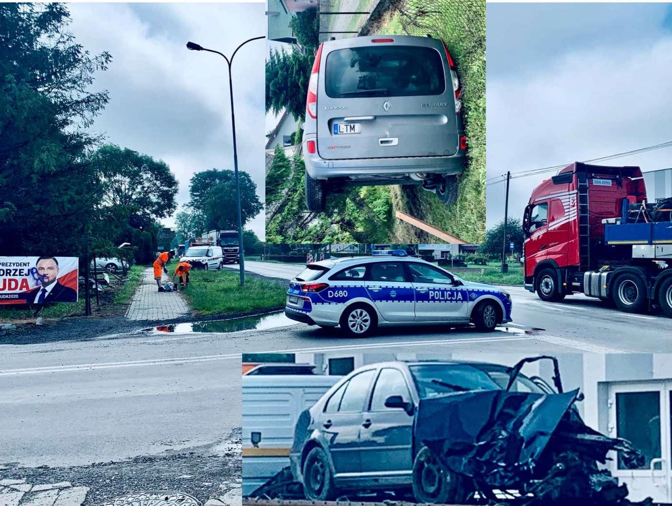 1s34 Zderzenie Volkswagena z Renault zablokowało skrzyżowanie w Kalinowicach (ZDJĘCIA)