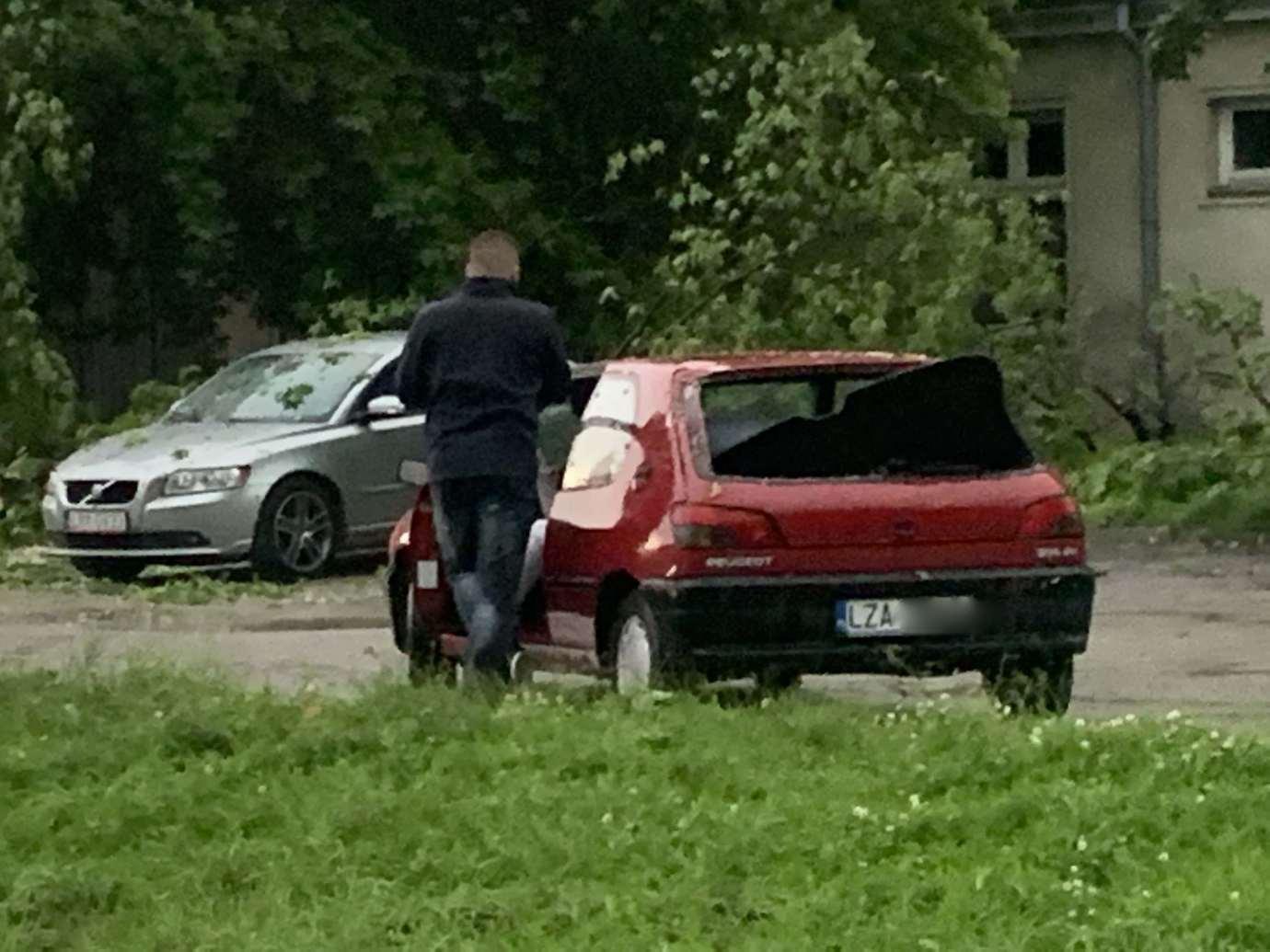img 9535 3 uszkodzone auta na Królowej Jadwigi, powalone drzewa. Kolejne zdjęcia i FILM