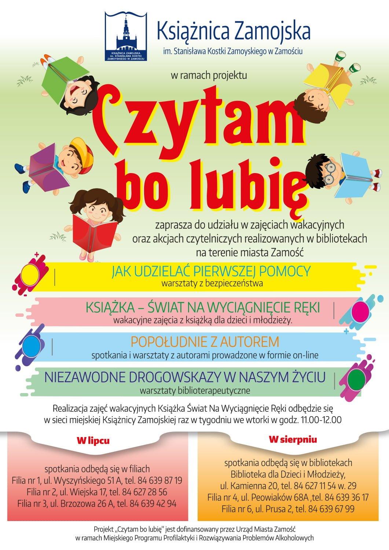 plakat a3 05 ZAMOŚĆ: Czytam, bo lubię – oferta dla dzieci i młodzieży