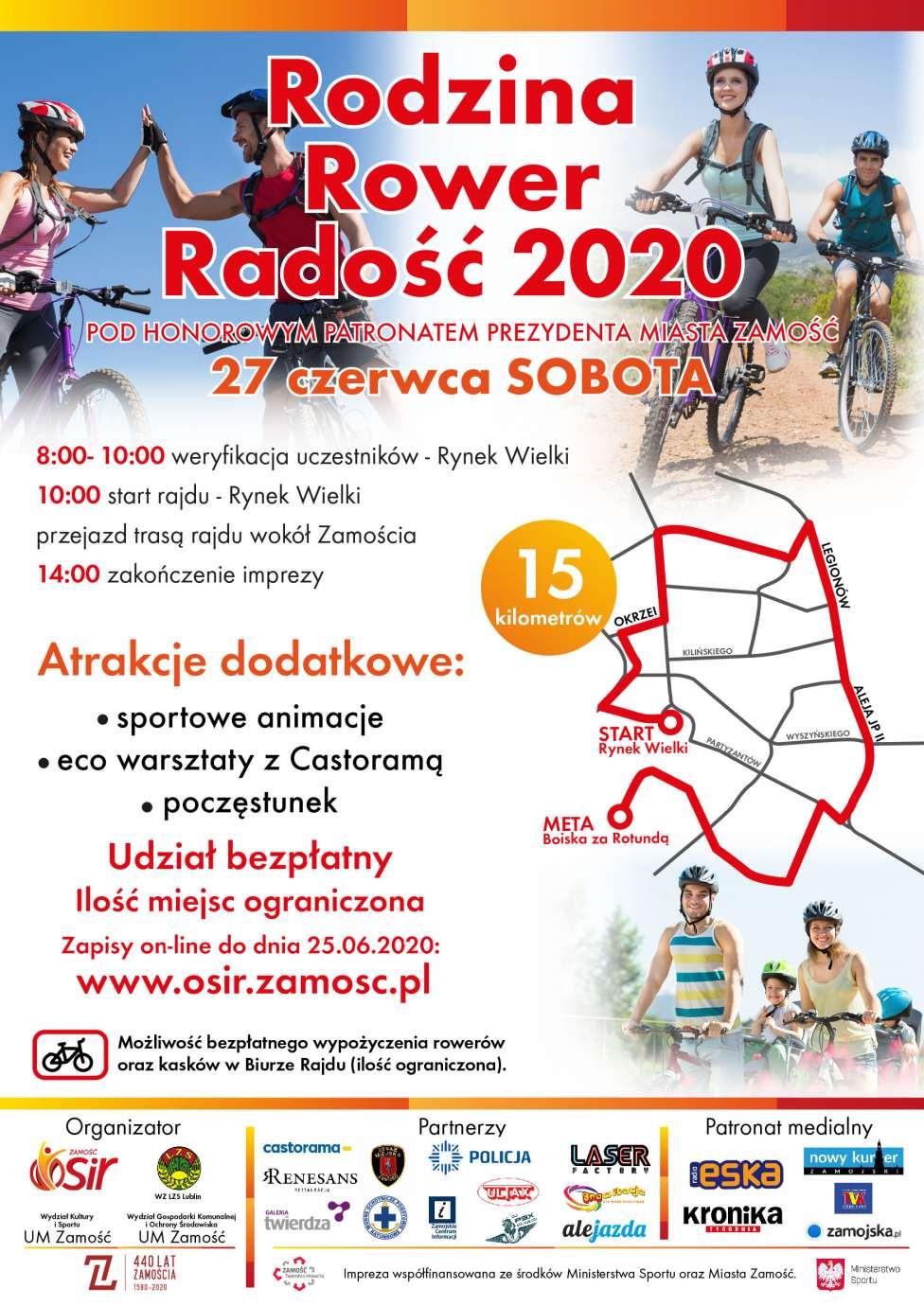 """rodzina radosc rower 2020 v6 02 Zamościanie na rowery! OSIR zaprasza na rajd """"Rodzina, Rower, Radość"""""""