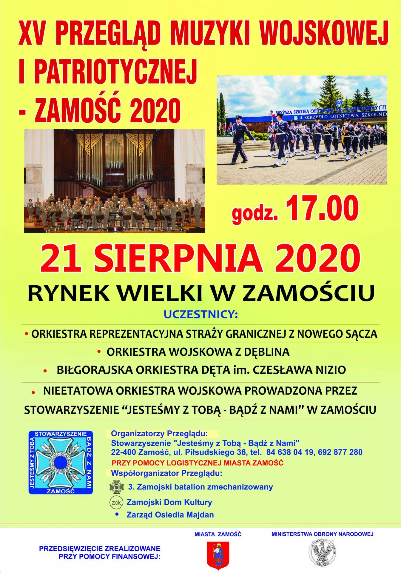 2020 plakat orkiestra Zaproszenie na XV Przegląd Muzyki Wojskowej i Patriotycznej - Zamość 2020.
