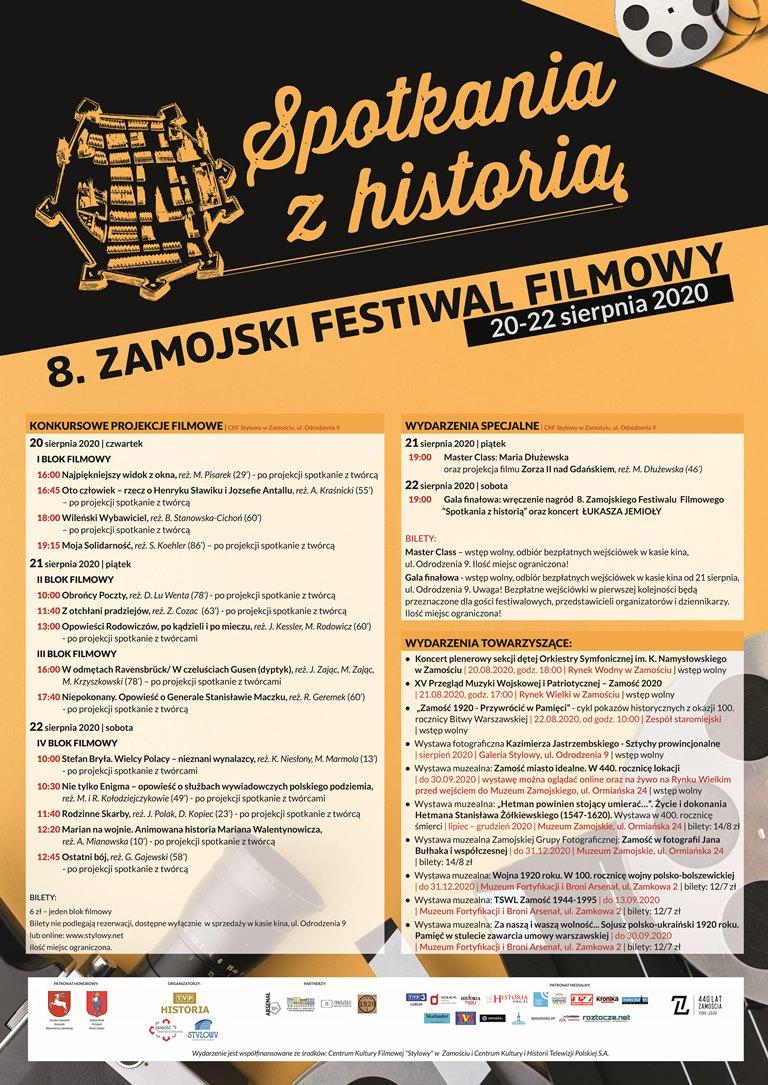 """8zff plakat Przed nami 8. edycja Zamojskiego Festiwalu Filmowego """"Spotkania z historią"""""""