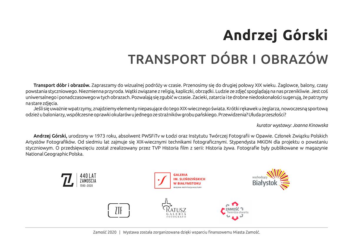 """gorski kartka web Wernisaż wystawy fotograficznej pt. """"Transport dóbr i obrazów"""" autorstwa Andrzeja Górskiego."""