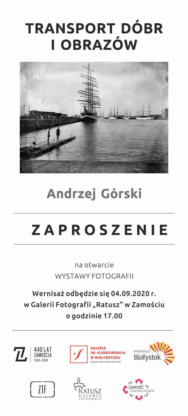 """gorski zapro Wernisaż wystawy fotograficznej pt. """"Transport dóbr i obrazów"""" autorstwa Andrzeja Górskiego."""