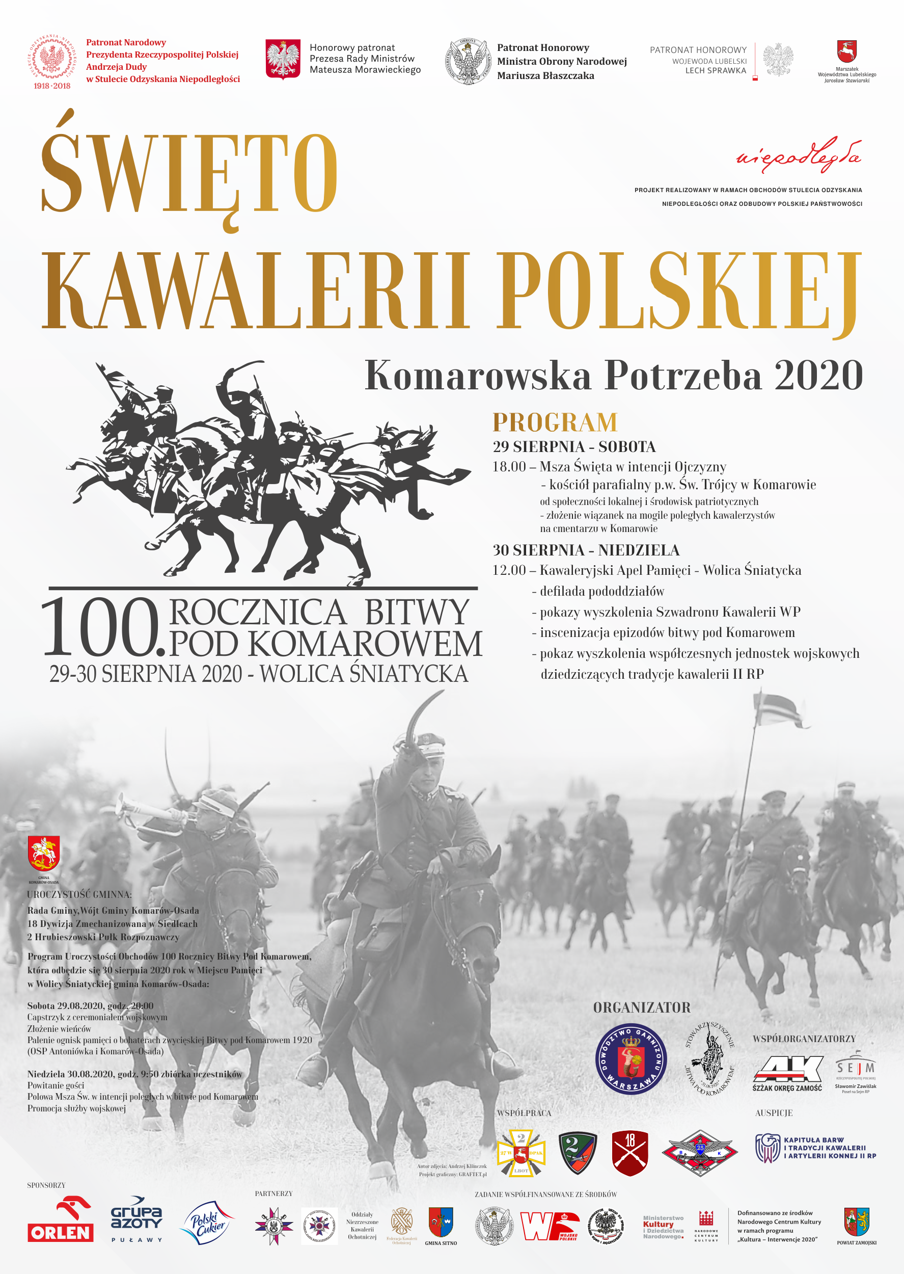 komarow 2020 plakat facebook ost Wyjątkowe obchody 100. rocznicy zwycięskiej Bitwy pod Komarowem
