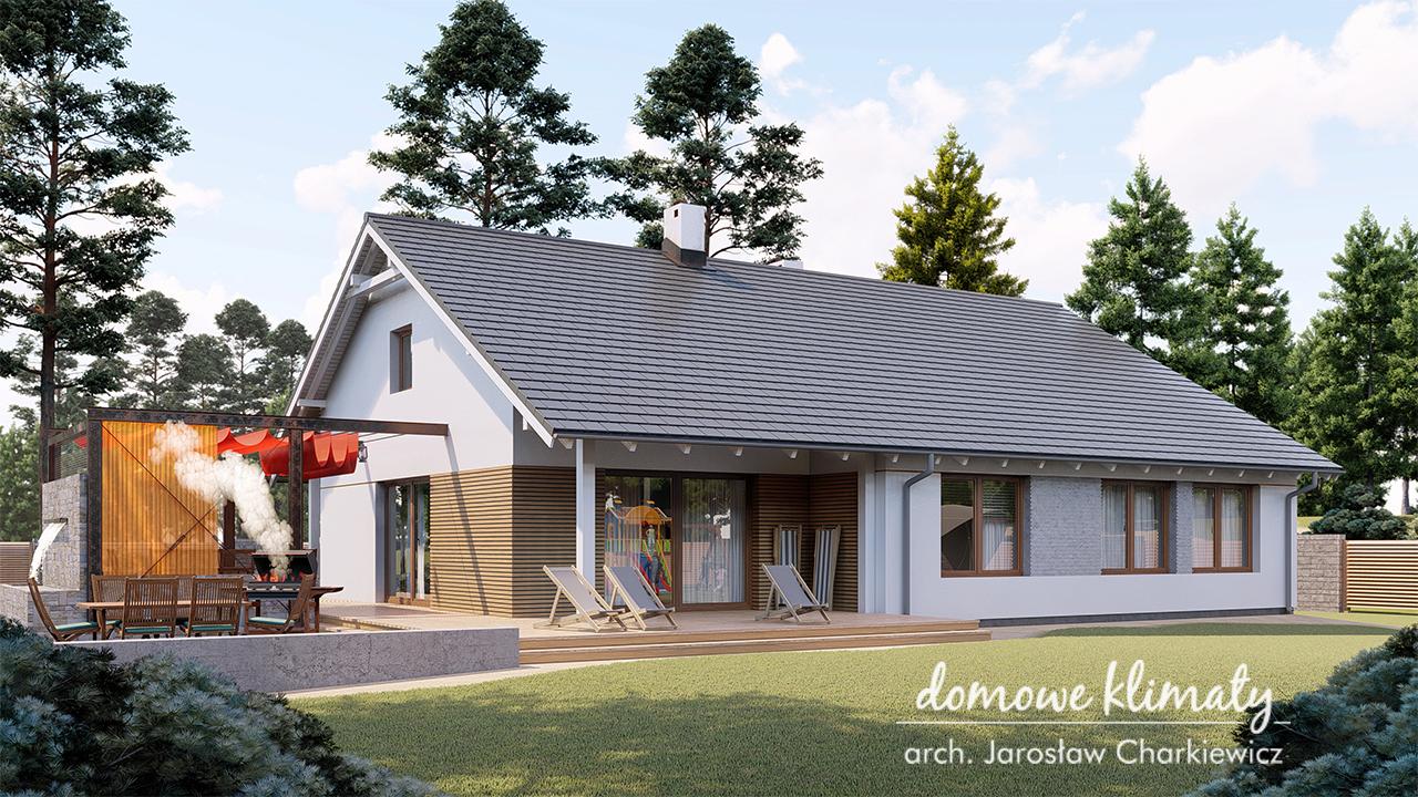 ogrodprojektugryf4 Projekt domu Gryf 4 z wieloma funkcjami i komfortowym tarasem