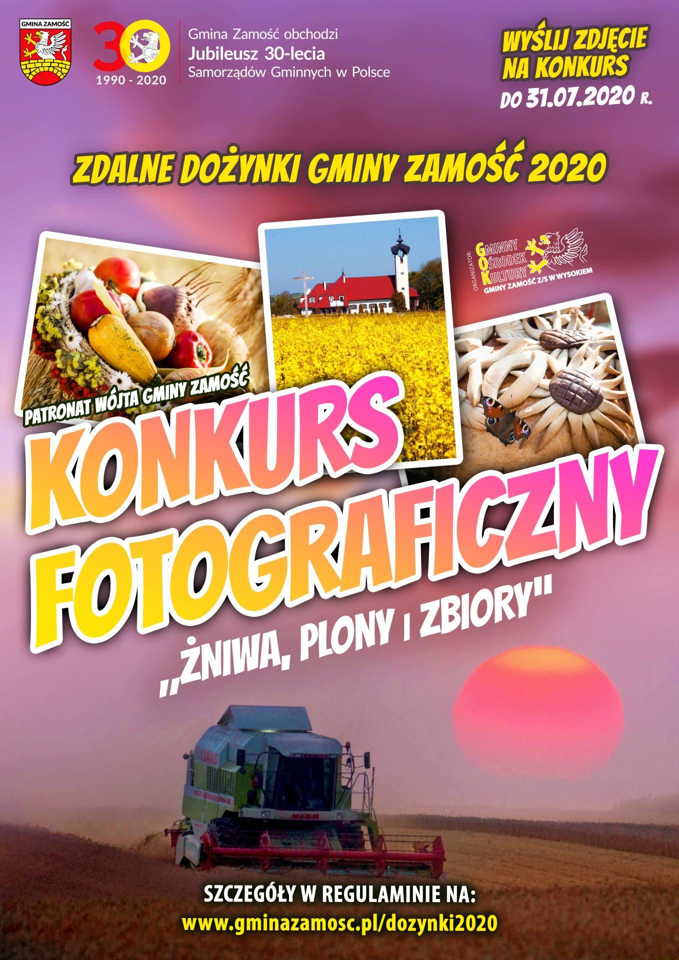 plakat konkursu foto 2020 dla mieszkaac284cac2b3w gminy zamoac29bac287 Nagrody pieniężne za najlepszą dożynkową fotkę
