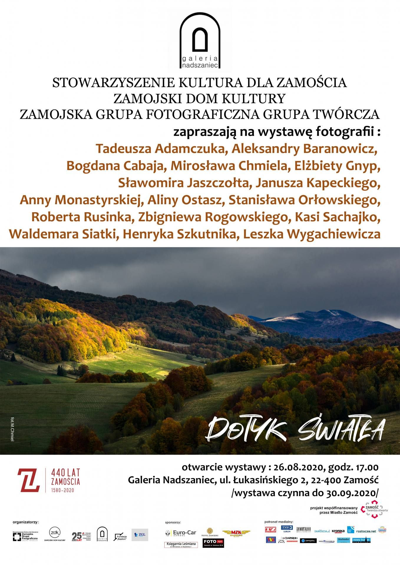 """plakat skac281ad nadszaniec """"Dotyk Światła"""" - wystawa fotografii ZGF GT"""
