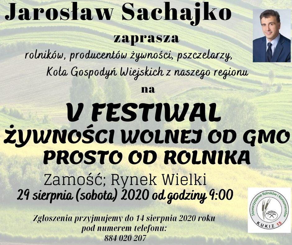 plakat V Festiwal Żywności Wolnej od GMO Prosto od Rolnika