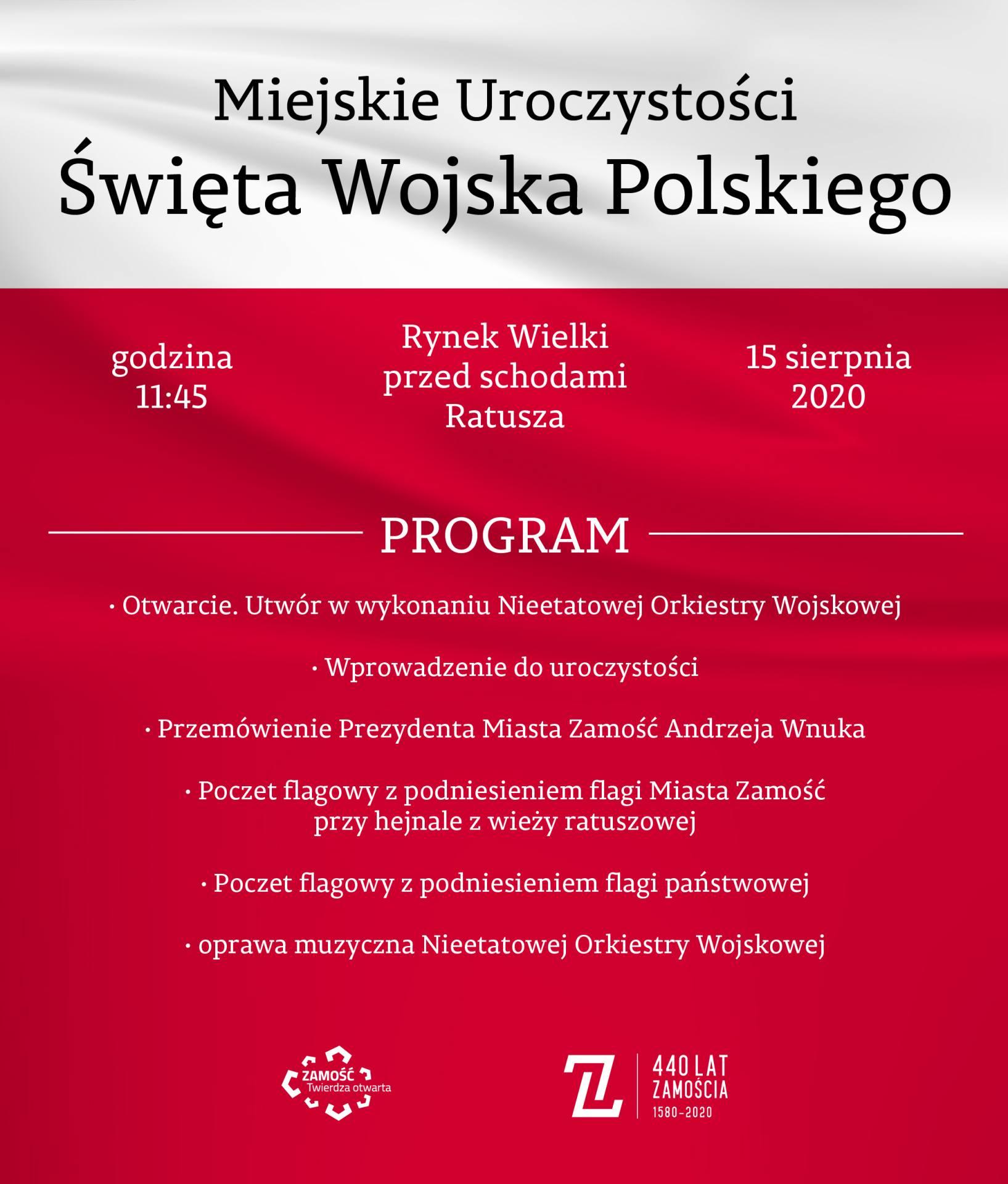 zaproszenie Zamość uczci Święto Wojska Polskiego