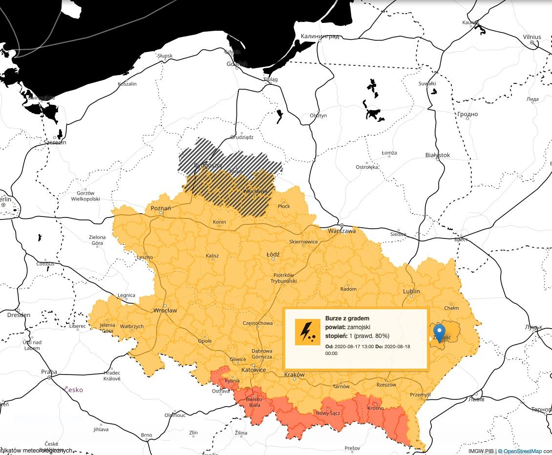 zrzut ekranu 2020 08 17 o 10 35 04 Burze z gradem mogą przejść nad Zamościem i regionem. Alert IMGW