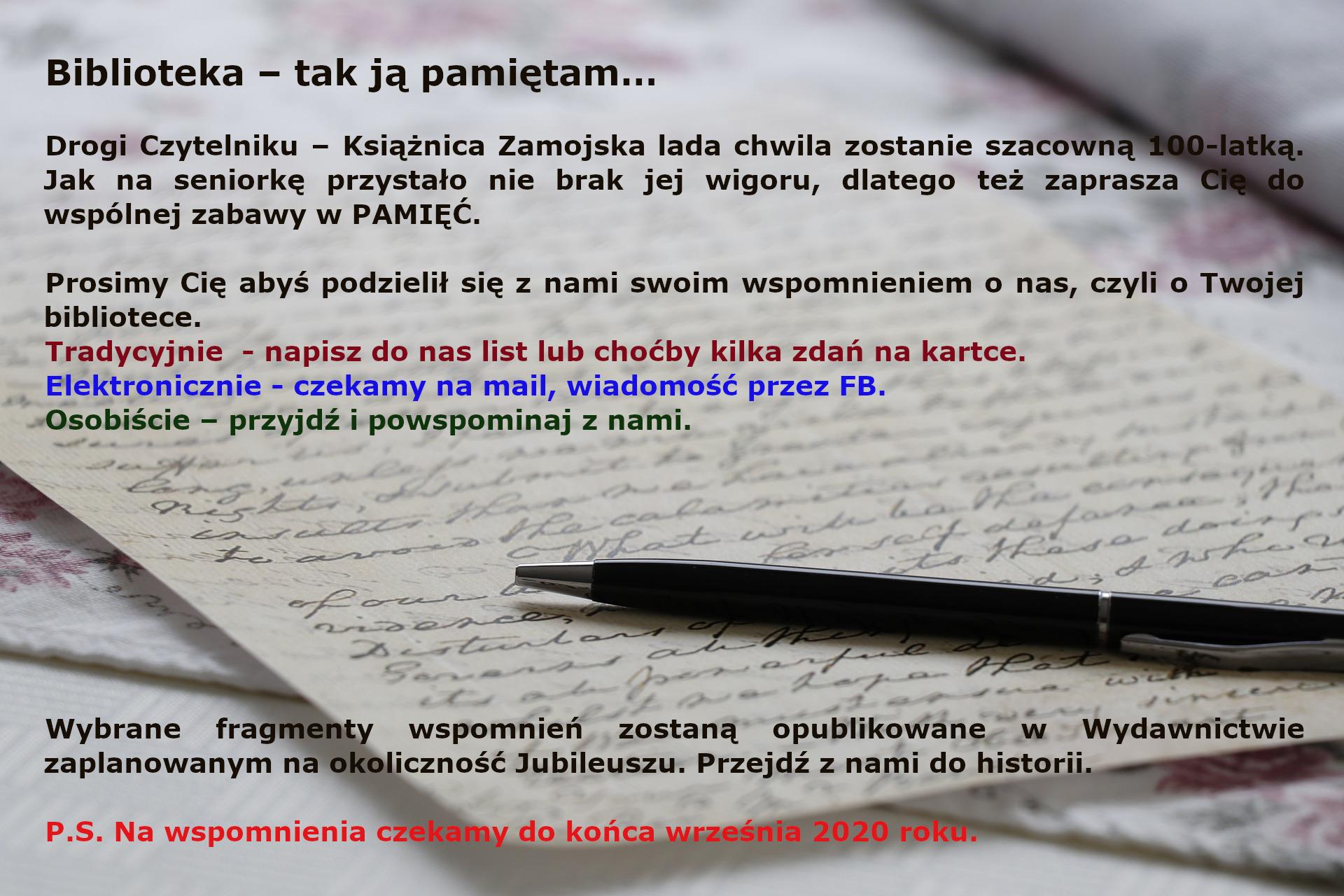 100latbiblioteki 100 lat Książnicy Zamojskiej. Podziel się wspomnieniami.