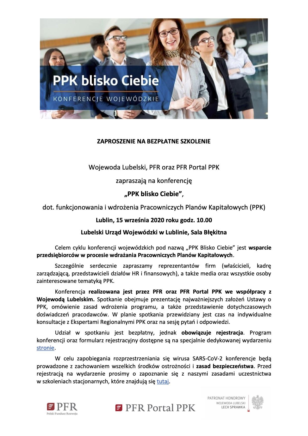 10946 zaproszenie od wojewody lubelskiego Bezpłatne szkolenie dot. Pracowniczych Planów Kapitałowych