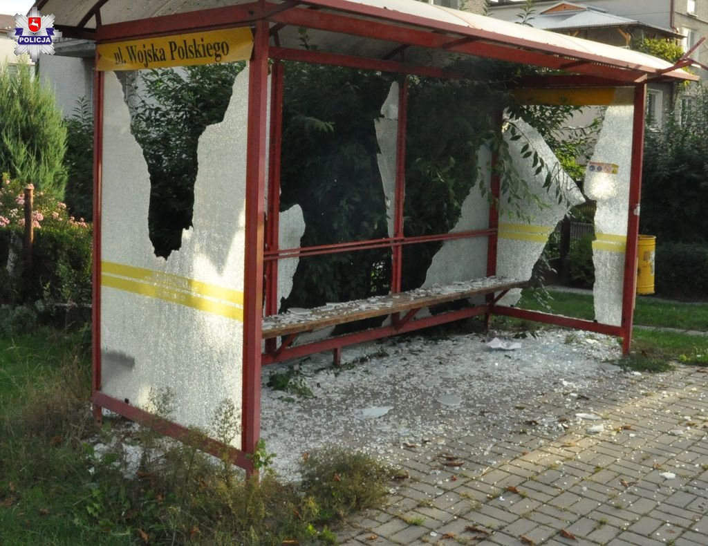 68 174451 Nerwowy 33-latek wybijał szyby w przystankach i samochodach.
