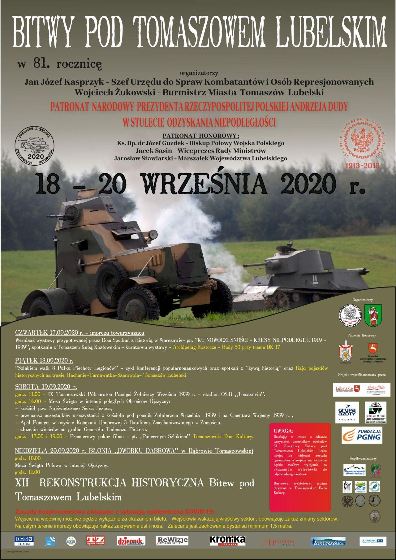 bitwy 2020 Obchody 81 rocznicy bitwy pod Tomaszowem Lubelskim