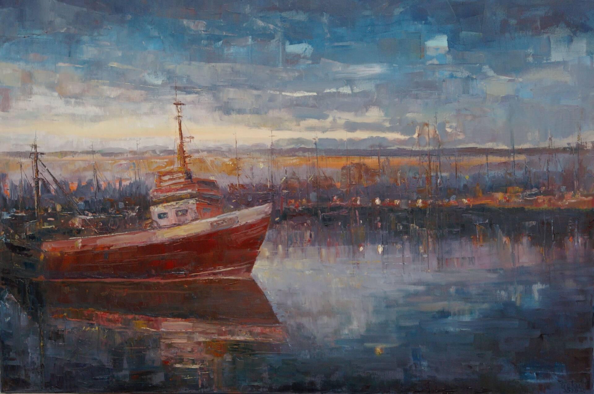 dariusz piekut w porcie 2020 r olej plotno 70x100 cm Obrazy Dariusza Piekuta będą prezentowane na Biennale Malarstwa w Gdyni.