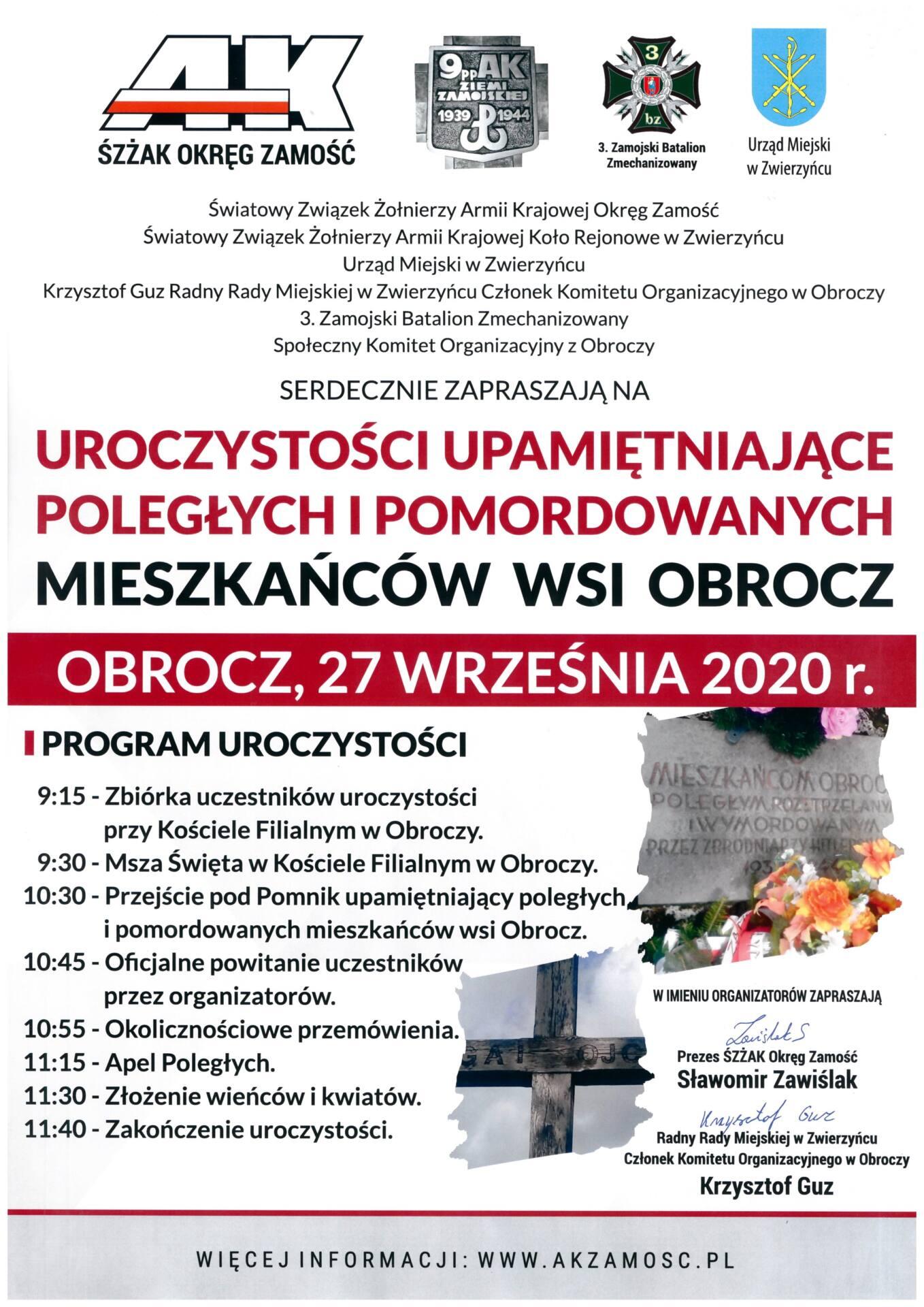 plakat 8 Uroczystości Upamiętniające Poległych i Pomordowanych Mieszkańców Wsi