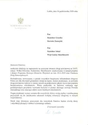 9226b Powiat Zamojski. Nowa droga łącząca trzy gminy oficjalnie oddana do użytku