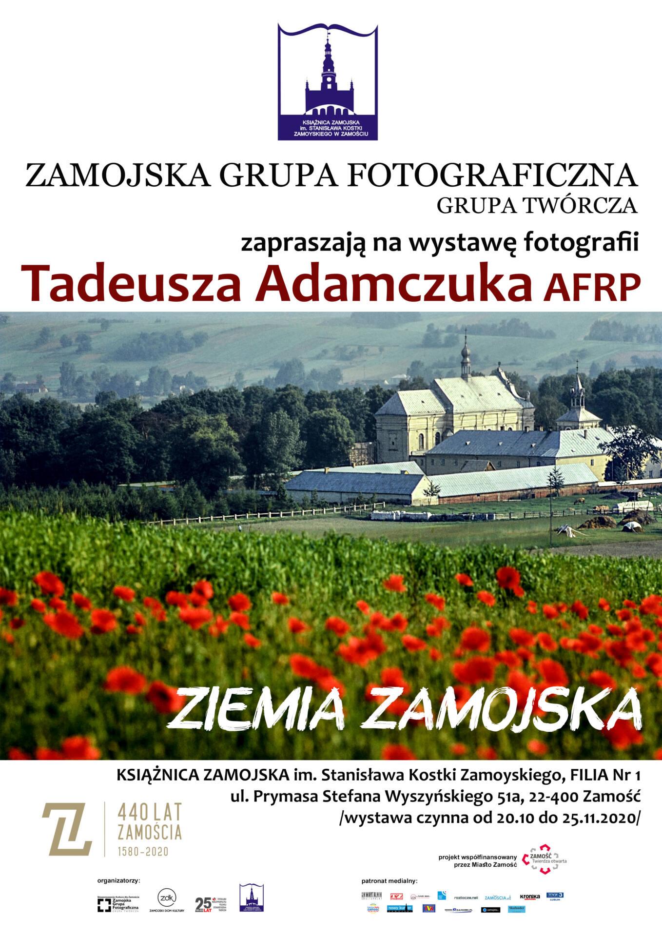"""plakat adamczuk bibl """"Ziemia Zamojska"""" - wystawa fotografii Tadeusza Adamczuka."""