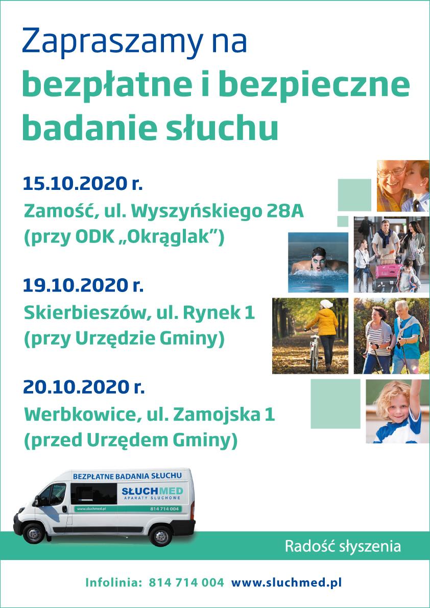 zamosc werbkowice skierbieszow pazdziernik 2020 bus a4 z grafikami i z dodatkowa linia Specjaliści od słuchu przyjadą do Zamościa, Skierbieszowa i Werbkowic. Zobacz film