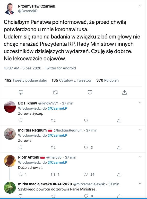 screenshot: Przemysław Czarnek Twitter