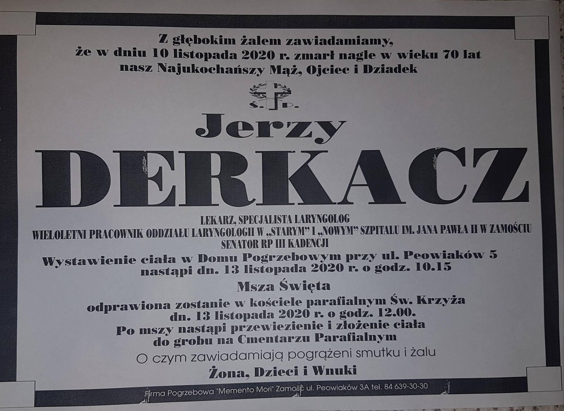 124994344 1096393404149674 5170752817434657319 o 1 Zmarł doktor Jerzy Derkacz, laryngolog zamojskiej służby zdrowia