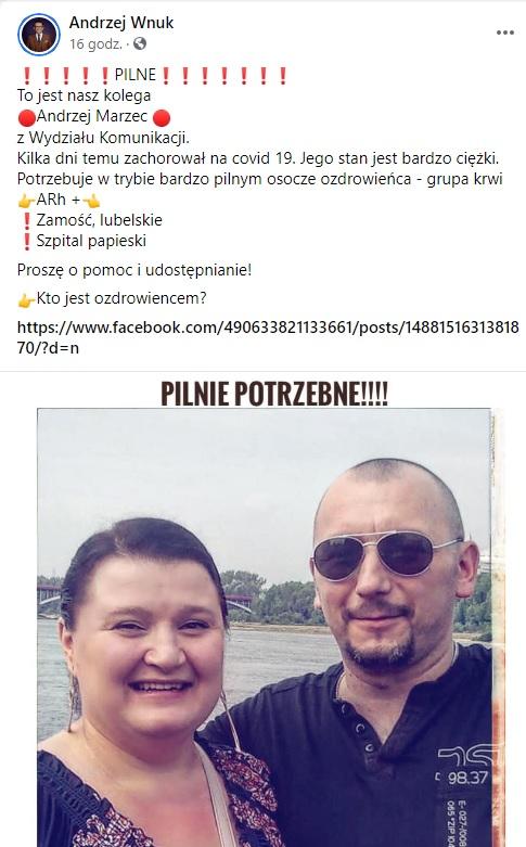 screenshot, źródło: Facebook/Andrzej Wnuk