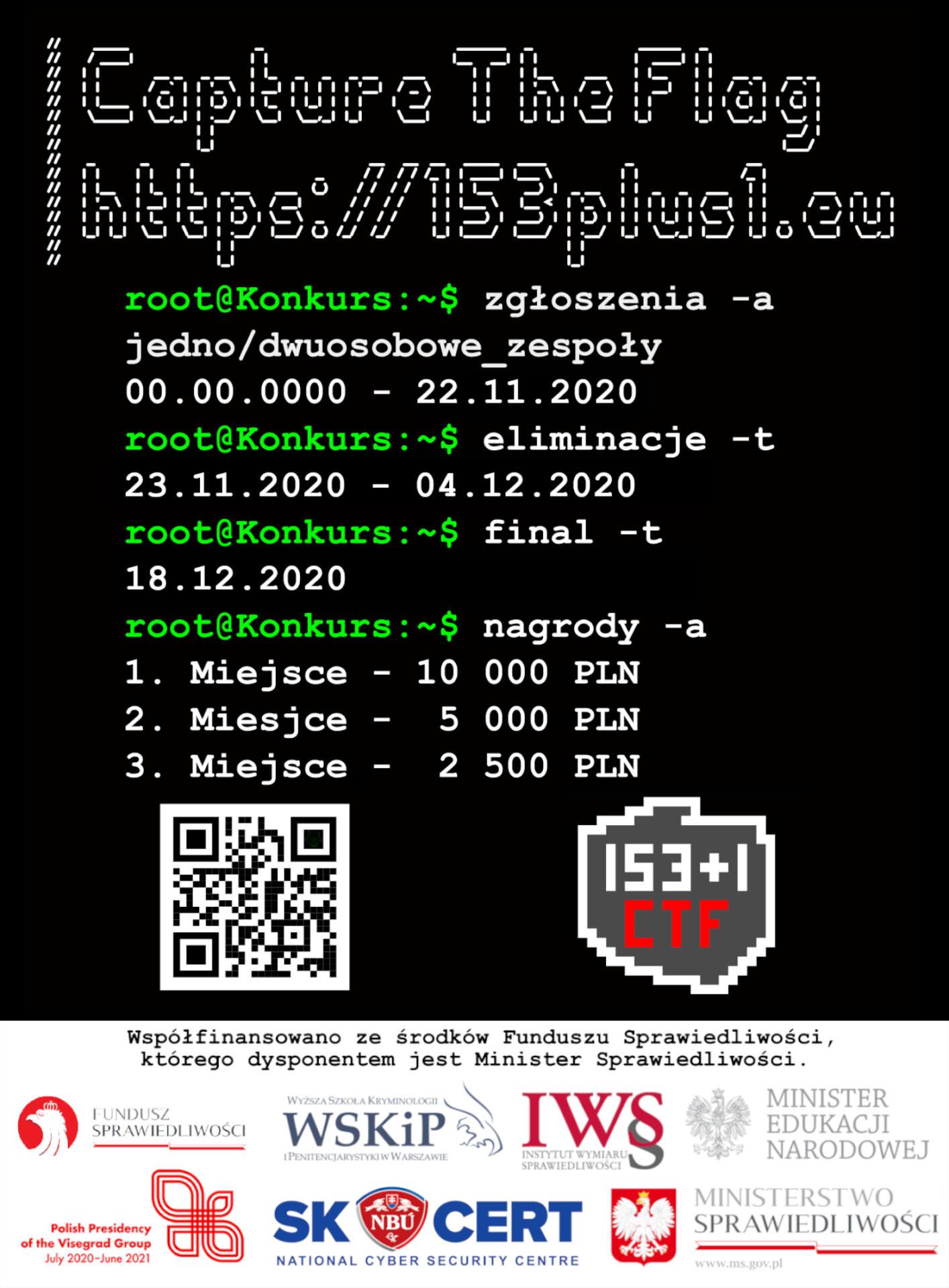 """plakat v7 gazeta v1 Zapraszamy na Capture The Flag """"153+1"""". Konkurs dla młodych miłośników informatyki"""