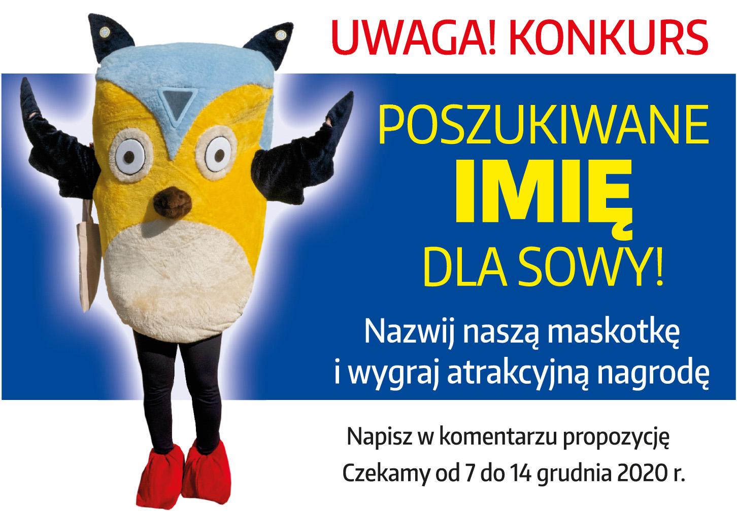 1 konkurs sowa plakat KONKURS! Poszukiwane imię dla SOWY - bibliotecznej maskotki.