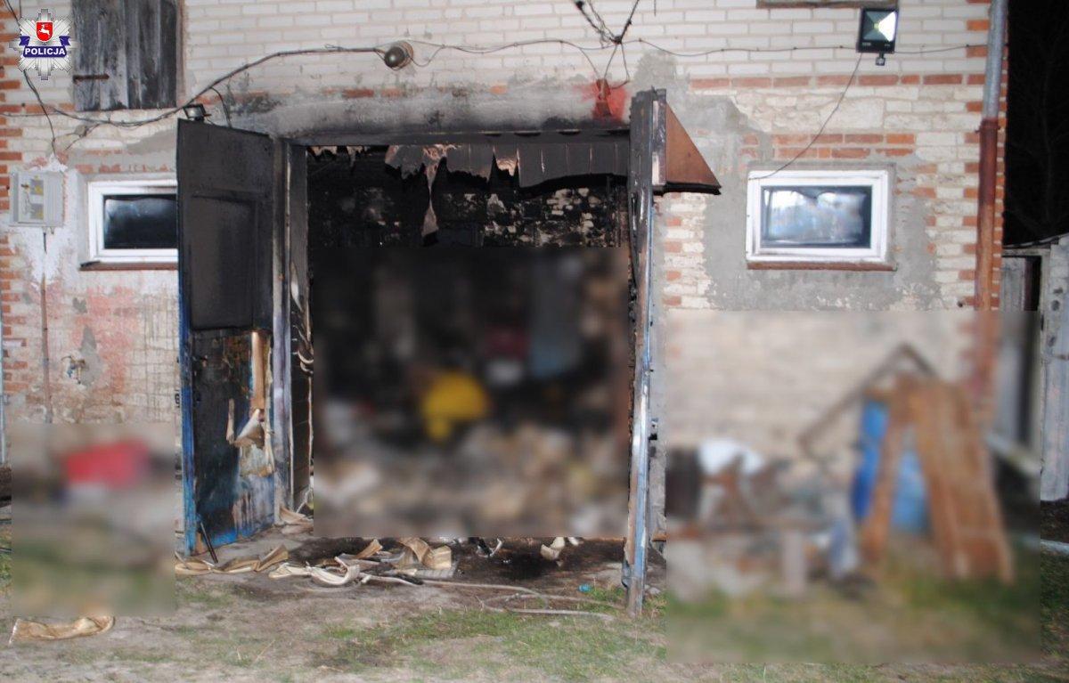 68 177905 Tragiczny w skutkach pożar garażu. Znaleziono częściowo spalone zwłoki