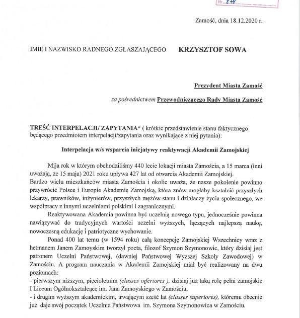 interpelacja 1 Radny Krzysztof Sowa złożył interpelację ws. reaktywacji Akademii Zamojskiej
