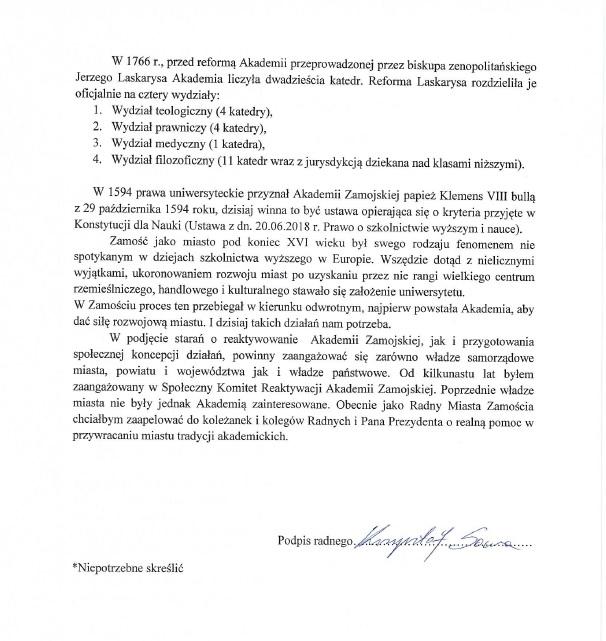 interpelacja 2 Radny Krzysztof Sowa złożył interpelację ws. reaktywacji Akademii Zamojskiej