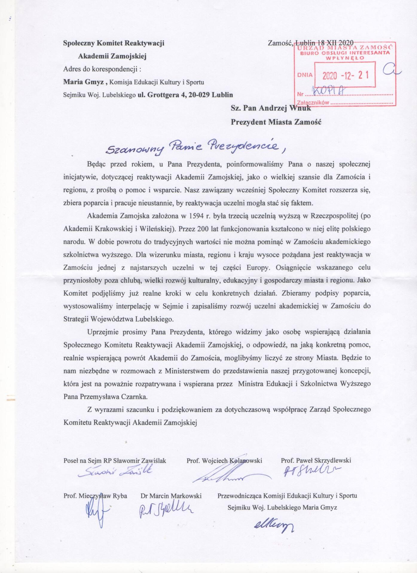 pismo akademia z Chcą reaktywacji Akademii Zamojskiej.