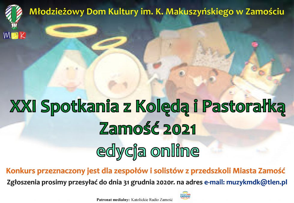 plakat 1 MDK zaprasza najmłodszych do udziału w XXI Spotkaniach z Kolędą i Pastorałką