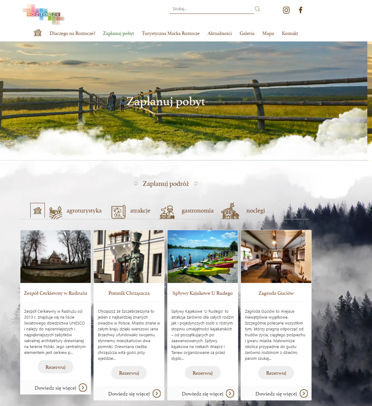 strona www Certyfikaty marki Roztocze dla 60 obiektów i atrakcji turystycznych