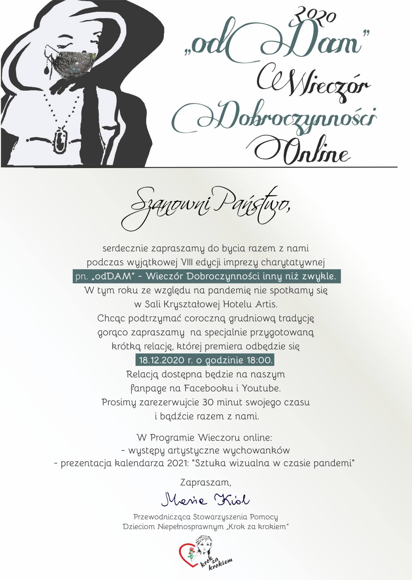 """zaproszenie online """"odDAM"""" - Wieczór Dobroczynności inny niż zwykle"""