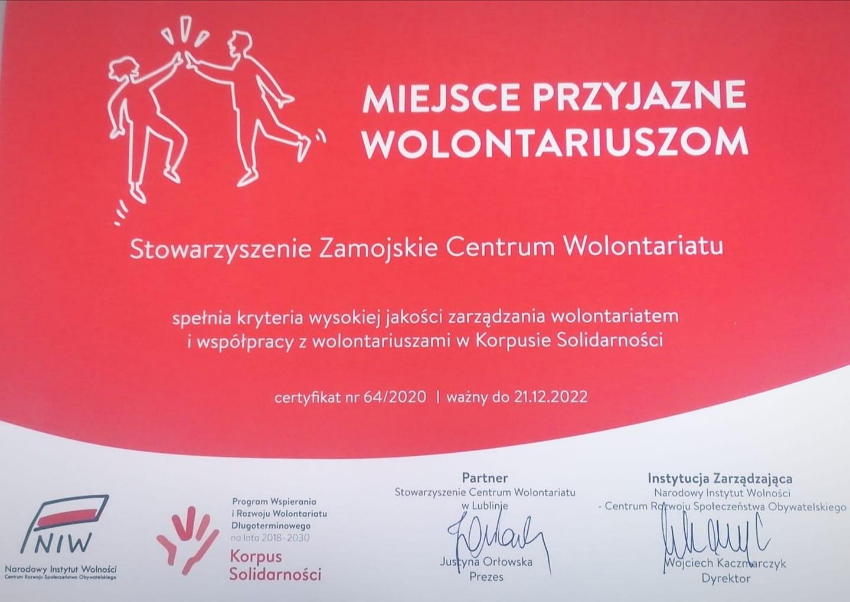 dyplom Zamojskie Centrum Wolontariatu uhonorowane