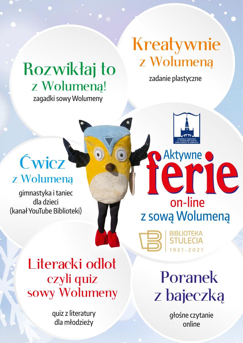 ferie plakat 04 Książnica Zamojska zaprasza na Aktywne ferie on-line z sową Wolumeną.