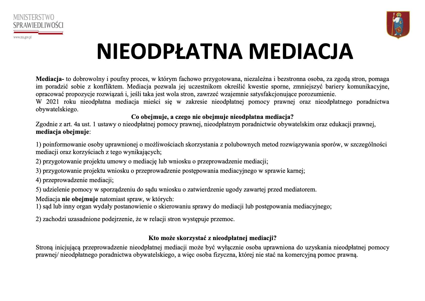nieodplatna mediacja plakat informacyjny ZAMOŚĆ: Porady prawne tylko z wykorzystaniem środków porozumiewania się na odległość