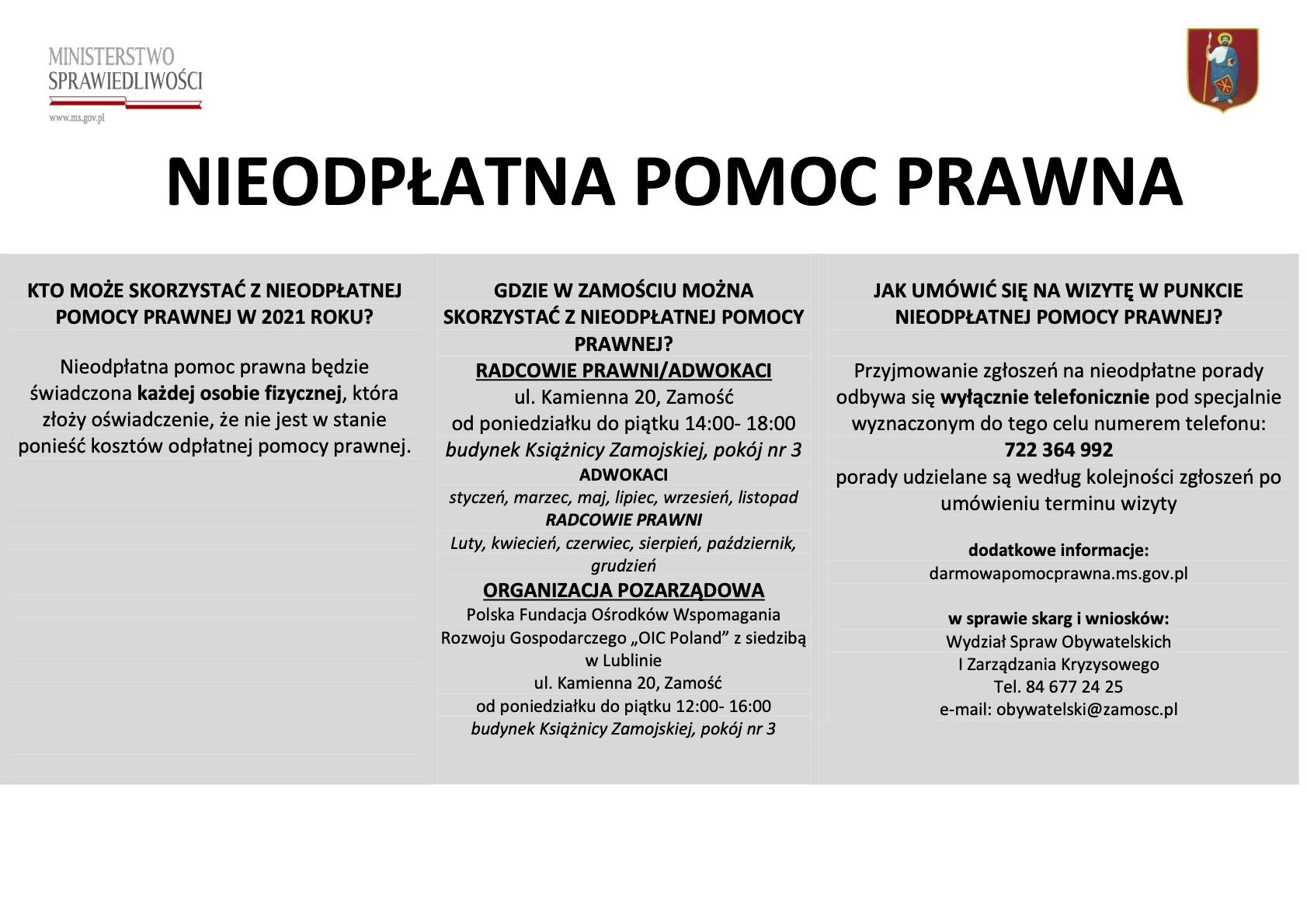 nieodplatna pomoc prawna plakat informacyjny ZAMOŚĆ: Porady prawne tylko z wykorzystaniem środków porozumiewania się na odległość