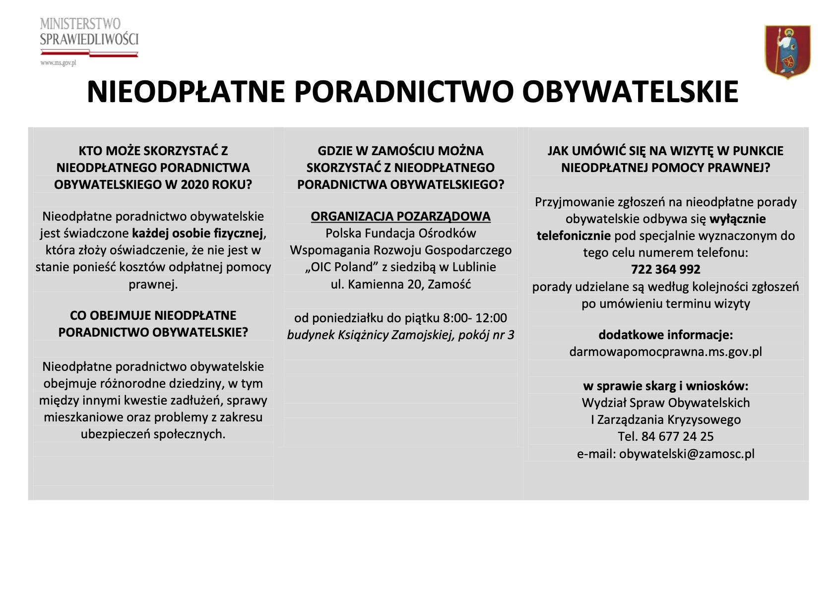 nieodplatne poradnictwo obywatelskie plakat informacyjn y ZAMOŚĆ: Porady prawne tylko z wykorzystaniem środków porozumiewania się na odległość